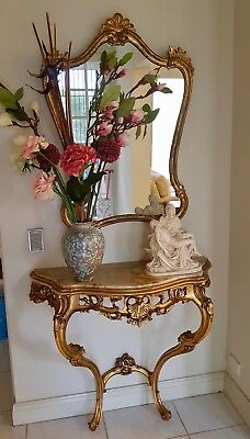 Louis French Vintage Carved Gold Giltwood & Marble Console & Gilded Gilt Mirror