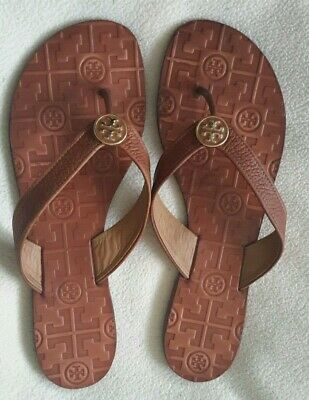 7ab2508727a Vintage Authentic Tory Burch Thora Thong Flat Sandal Tumbled Leather Size 9  M