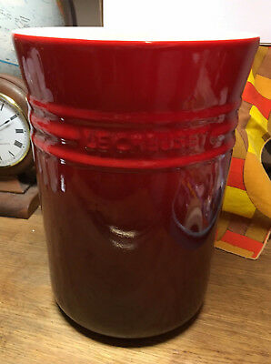 Le Creuset Red Ombre 5 Qt Canister Crock Stoneware Utensil Holder No Lid GREAT!