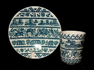 Vntg Nymolle Art Hoyrup Demitasse Cup Saucer Vikings & Knights Limited Ed 4 - 5a