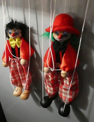 """Ackerman String Puppets Marionette Clowns Wood Cloth 8"""""""
