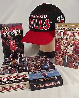 647786862c5 Vintage 90 s Chicago Bulls RARE Snap Back Hat VHS lot come fly three peat  NBA