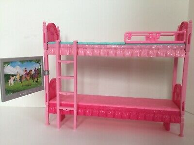 Lot Barbie Doll Furniture Sisters Bunk Bed Tub Bicycle Couch Pizza