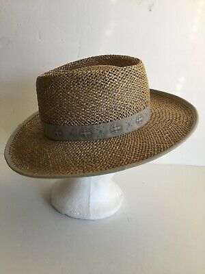 1845ef13a47446 Columbia Hat Seagrass Panama Style Straw wide brim Unisex size S/M  Gardening Sun