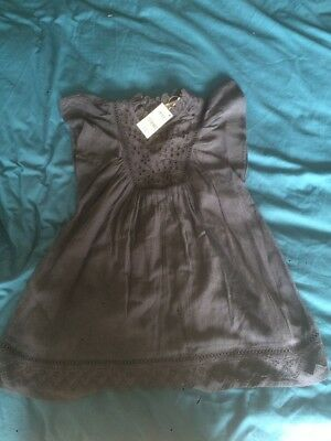 CP) Next Girls Grey Flower Dress 5 Years 110cm Bnwt New With Tags