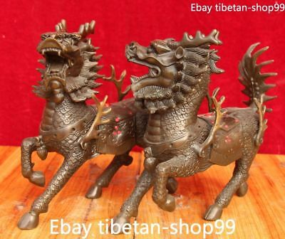 Chinese Pure Bronze Gilt Kylin Kirin Chi-Lin Kilin Qilin unicorn Animal Pair
