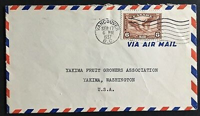 Canada air mail cover 1937 Vancouver B.C. posted to Yakima, WA