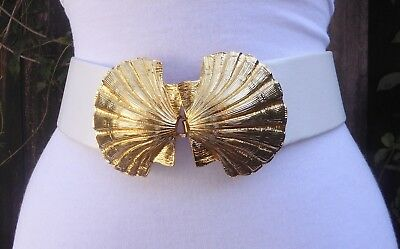 "Vtg. Dotty Smith Gold Tone Double SeaShell Buckle w/faux. Leather 2"" Cinch Belt"
