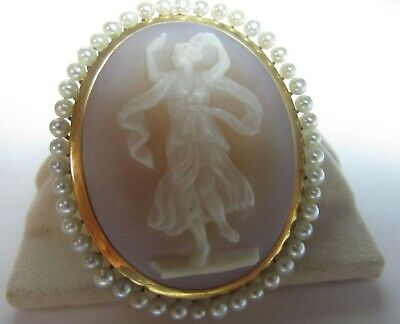 Museum Quality Large Figural Cameo Hand Carved 1 Piece Agate 14K Solid Gold