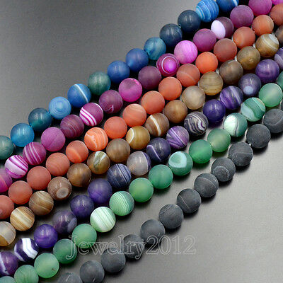 Natural Matte Frosted Stripe Agate Gemstone Round Beads 15.5''  8mm 10mm 12mm