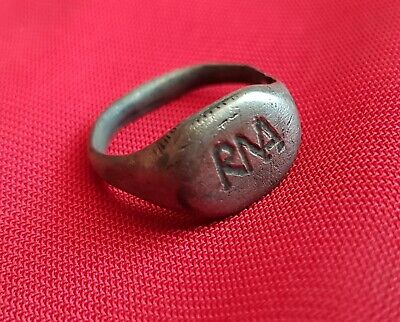 ROMA - RMA Ancient Roman authentic silver engraved ring . 150 AD