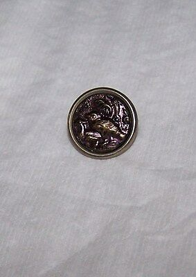 Antique 2Pc Metal Button-Tinted Stamped Raised Birds-Loop Shank-Sew-Collectible