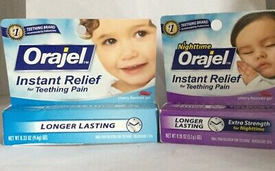 2 Pack Nighttime Daytime Orajel Instant Relief For Teething Pain New. EXP:06/19