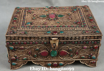 "8"" Old Chinese Bronze Filigree Inlay Turquoise Gem Jewelry Box Jewel Case Casket"