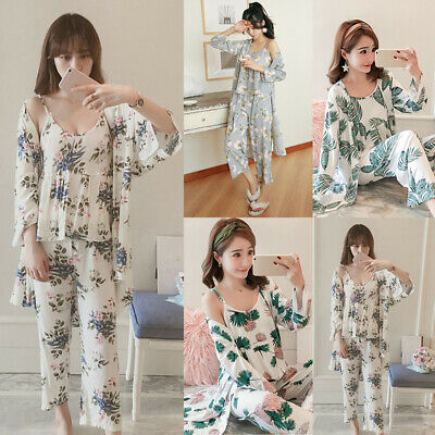 Robe + Camisole + Long Pants Women Pajama Set Nightwear Homewear Ladies Summer