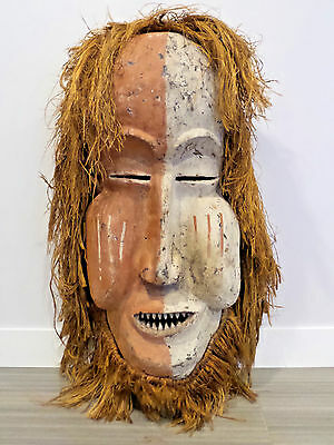 "43"" Tall Bamum Cameroon Mask African Handcarved Wood Raffia Africa Very Large"