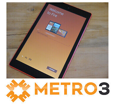 Amazon Kindle Fire HD8 7TH GEN Tablet Wi-Fi eReader ALEXA 16GB AS NEW PUNCH RED