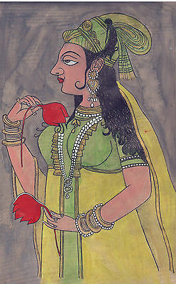 Vintage Antique Miniature Painting Artwork Gallery Mughal Empire Moghul Queen