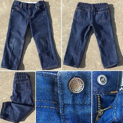 Vintage Jeans Toddler Kids Reinforced Knees (See Pic Of Jeans Inside Out)