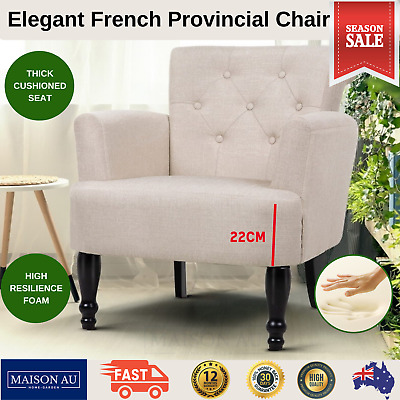 French Provincial Armchair Fabric Retro Arm Chair Vintage Timber Lounge Chairs