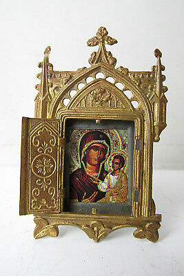 ANTIQUE Old Small TRAVELING ICON of Virgin Mary and Jesus Christ. Triptych