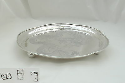 RARE CHINESE EXPORT SILVER 3 FOOTED DRAGON TRAY Cumwo c 1870