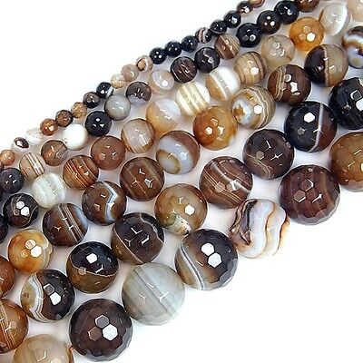 Wholesale Faceted Coffee Striated Agate Round Spacer Loose Beads 4mm 6mm
