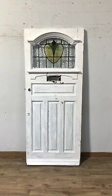 1930S Leaded Stained Glass Wooden Front Door-Timber-Reclaimed-Edwardian-Period