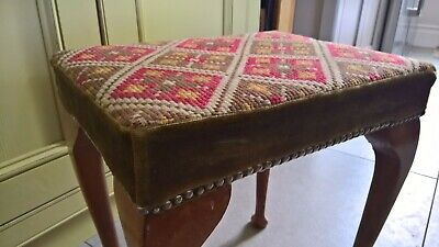 Vintage stool with tapestry top