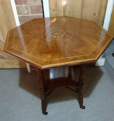 Antique Inlaid Rosewood Victorian Hexagonal Occasional Lamp Table