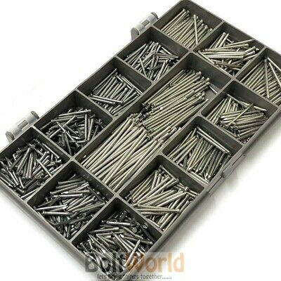 1000 ASSORTED 1.6mm BRIGHT STEEL PANEL PINS TACKS HARDBOARD NAILS VARIOUS LENGTH