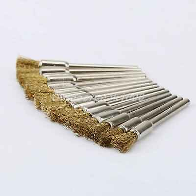 "10Pcs 5mm Brass Wire Pencil Brush Wheel 0.12"" Shank Rotary Tool Grinder"