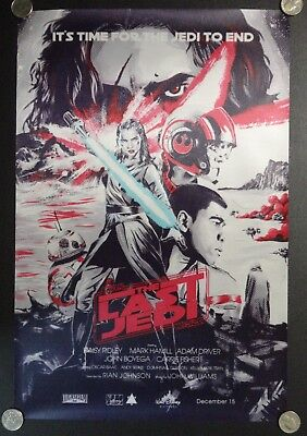 Star Wars The Last Jedi FABRIC Movie Poster Rey w/ Lightsaber Comic Art Banner
