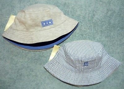 Brand New Baby Boys Blue & White Striped OR Pale Grey Cotton Summer Sun Hat