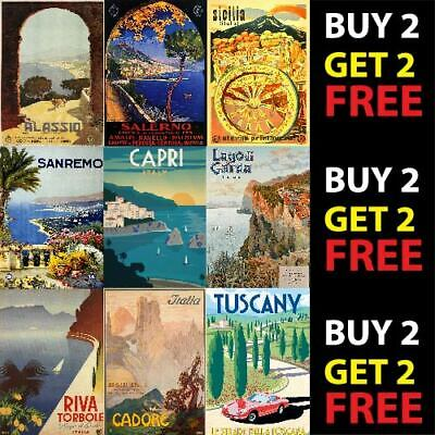 VINTAGE ITALY ITALIAN TRAVEL TOURISM POSTER PRINTS A4/A3 300gsm WALL ART DECO