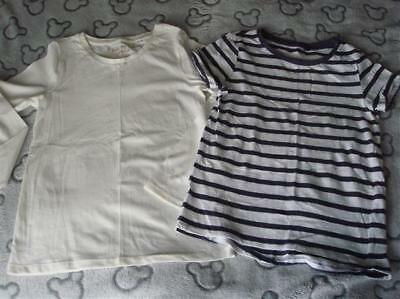 Girls Next Striped Tshirt & White Long Sleeved Top Bundle Aged 9 Years