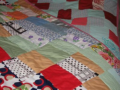 Vintage Handmade  Double-Sided Crazy Quilt, Multi-Color