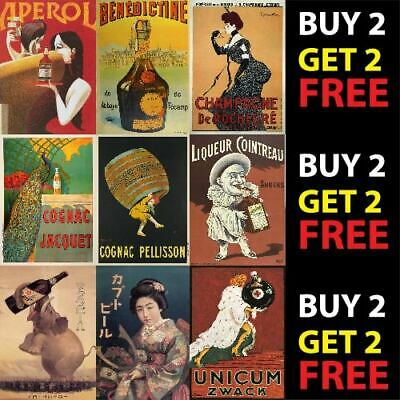 VINTAGE BEERS, WINES AND SPIRITS POSTER PRINTS A4/A3 300gsm WALL ART DECO