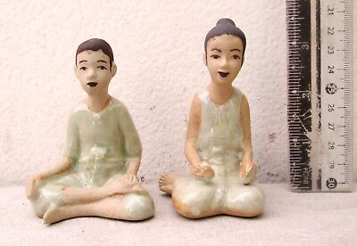 NICE! Pair of Porcelain Spirit House Figures Male & Female 100% HANDMADE