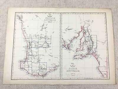 Antique Map Australia Western South Old Hand Coloured 19th Century