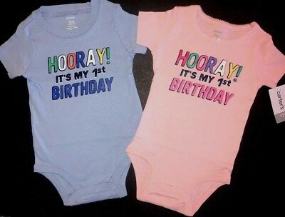 2ba3120a3 Carter's $24 First Bday 12m Outfit Girl Boy Twins Hooray It's My 1st  Birthday!