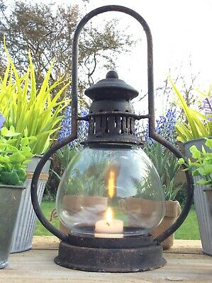 Antique French Vintage Style Metal Lantern Candle Holder Rustic Country Garden