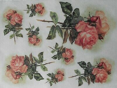 Rice Paper for Decoupage Scrapbooking Pink Roses