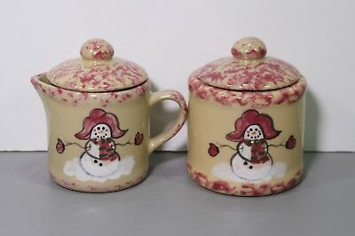 """One Christmas Red Snowman Cream and Sugar 3""""- Alpine Pottery Roseville Ohio"""