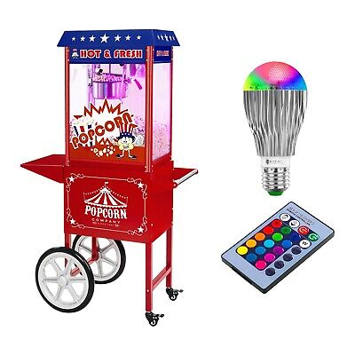 Retro Popcorn Machine Cinema Style Commercial Popcorn Maker X Cart 1600W 6Kg/H
