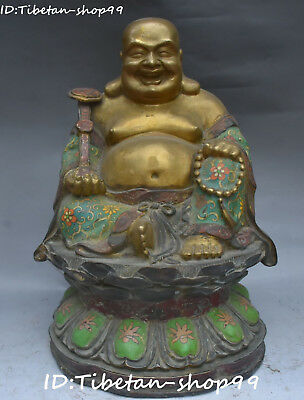 "16"" China Cloisonne Enamel Gilt Wealth Ruyi Happy Laugh Maitreya Buddha Statue"