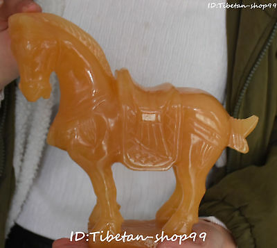 Rare Chinese Natural Yellow Jade Handwork Carving Horse Horses Animal Statue