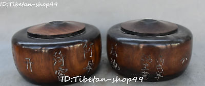 Chinese Boxwood Wood Ancient Carving Words Weiqi Box Case Boxes Pair Statue