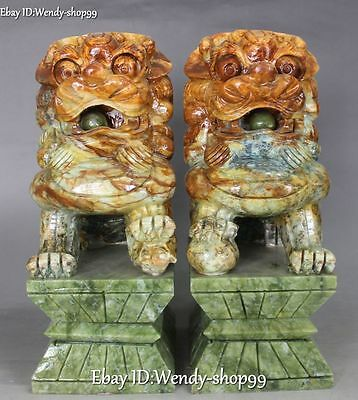 """12"""" Unique Natural Jade Hand Carved Lion Fu Foo Dog Guardion Beast Statue Pair"""