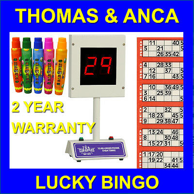 Lucky Bingo Electronic Bingo Machine 1-90 & 1-75 Free 15ml Dabbers or Tickets